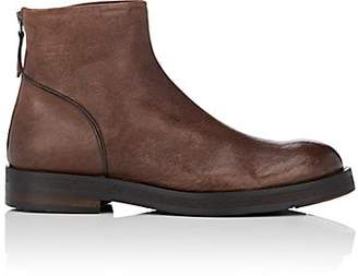 Barneys New York Men's Leather Back-Zip Boots - Brown