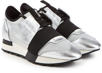 Balenciaga Race Runner Sneakers with Metallic Leather and Mesh
