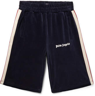 Palm Angels Webbing-Trimmed Logo-Print Cotton-Blend Corduroy Shorts