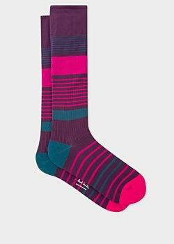 Paul Smith Men's Damson Block Stripe 'A Sock To Travel In'