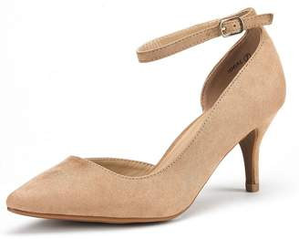 DREAM PAIRS IDEAL Women's Evening Dress Low Heel Ankle Strap D'orsay Pointed Toe Wedding Pumps Shoes Size 8.5