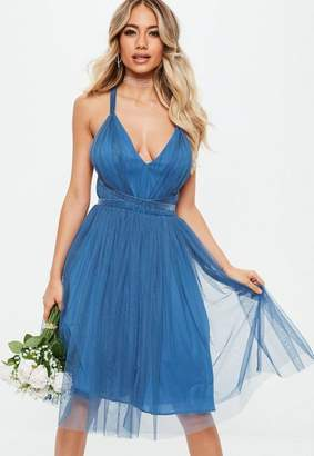 Missguided Bridesmaids Blue Mesh Plunge Mini Skater Dress
