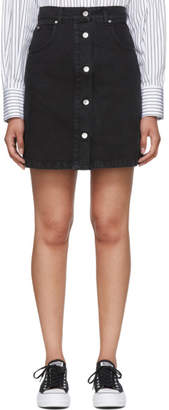 MSGM Black Washed Denim Micro Logo Skirt