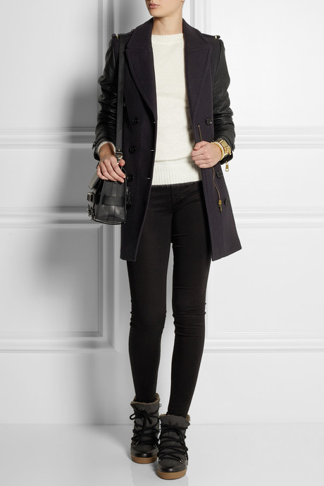 Burberry Wool-blend and leather coat