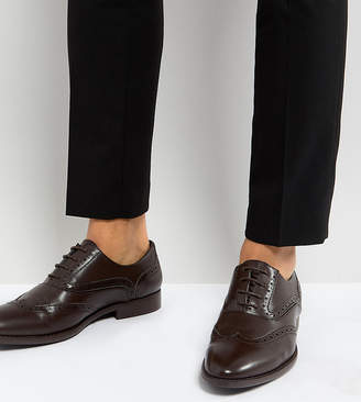 Asos Design Wide Fit Brogue Shoes In Brown Faux Leather