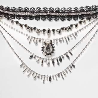River Island Womens Black lace choker jewel drape necklace