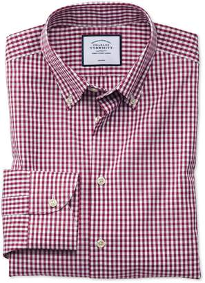 Charles Tyrwhitt Classic Fit Business Casual Non-Iron Button-Down Berry Check Cotton Dress Shirt Single Cuff Size 15/33