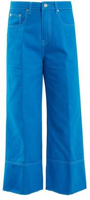 MSGM High Rise Wide Leg Cropped Jeans - Womens - Blue
