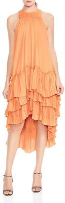Halston Pleated-Ruffle High/Low Dress