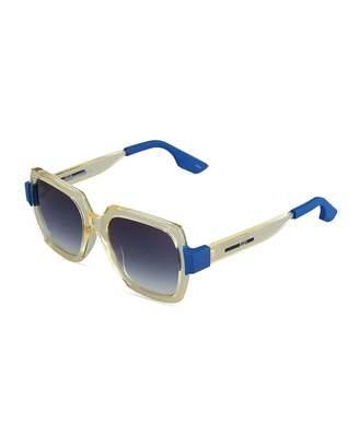 McQ Two-Tone Square Plastic Sunglasses, Yellow/Blue