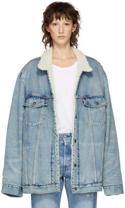 Levi's Levis Blue Big and Tall Type 3 Sherpa Trucker Jacket