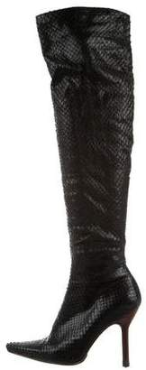 Gucci Snakeskin Over-The-Knee Boots