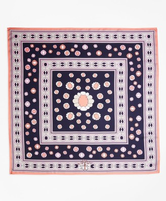 Brooks Brothers Daisy-Print Silk Square Scarf