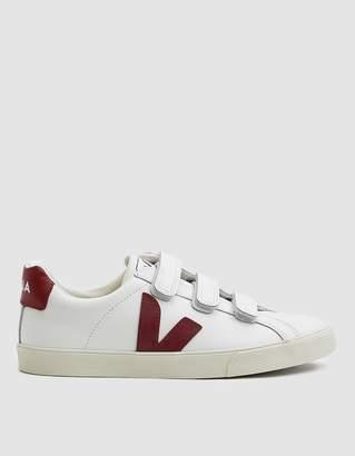 Veja Esplar Leather 3-Lock Sneaker in Extra White Marsala