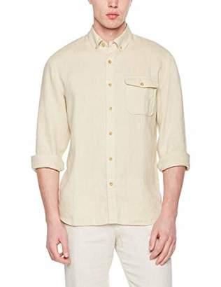 Isle Bay Linens Men's Standard-Fit 100% Linen Long-Sleeve Button-Down Woven Casual Shirt