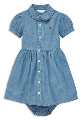 Ralph Lauren Girls' Ruffled Chambray Shirt Dress & Bloomers Set - Baby