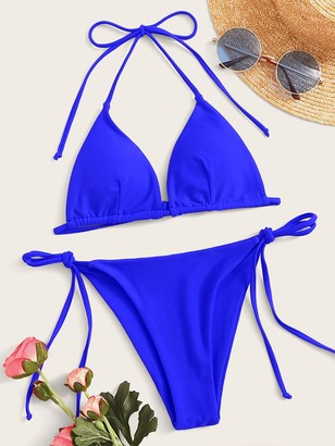 Shein Neon Blue Halter Top With Tie Side Bikini Set