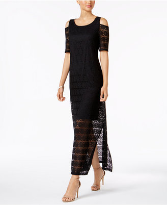 Nine West Cold-Shoulder Illusion-Lace Maxi Dress $89 thestylecure.com