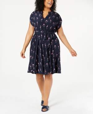 Charter Club Plus Size Button-Front Tie Dress, Created for Macy's