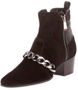 Balmain Ella Calfskin Chain-Trim Booties