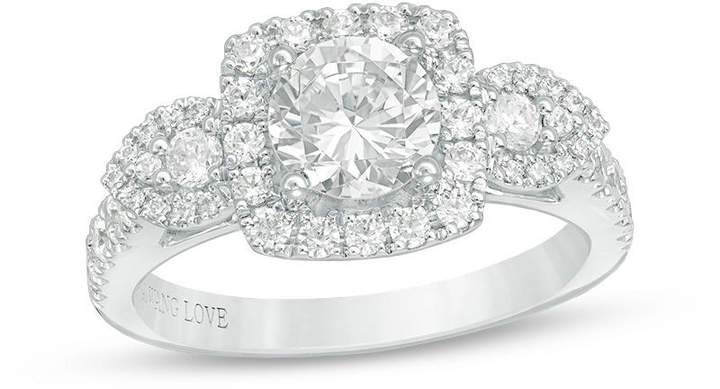 Zales Vera Wang Love Collection 1-3/4 CT. T.W. Diamond Frame Three Stone Engagement Ring in 14K White Gold