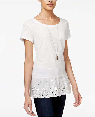 Maison Jules Cotton Eyelet Peplum Top, Only at Macy's $39.50 thestylecure.com