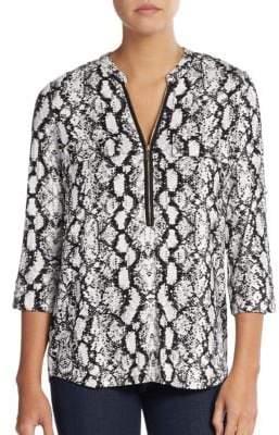 Calvin Klein Snakeskin-Print Roll-Sleeve Top