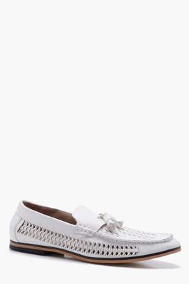boohoo Tassel Front PU Woven Loafer