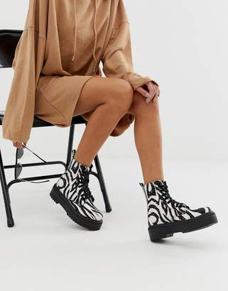 Asos Design DESIGN Attitude chunky lace up boots in zebra