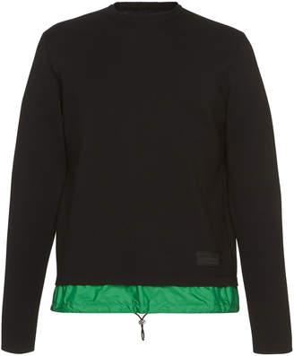 Prada Black Knit Sweatshirt With Nylon Waistband