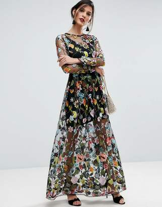ASOS SALON Embroidered Sheer Maxi Dress $196 thestylecure.com