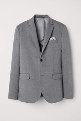 H&M Slim Fit Linen-blend Blazer - Gray