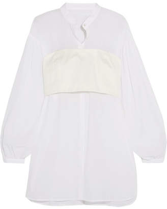 3.1 Phillip Lim - Layered Twill And Cotton-voile Blouse - White $425 thestylecure.com