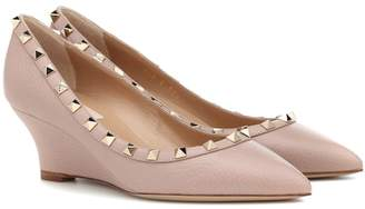 Valentino Rockstud leather wedges