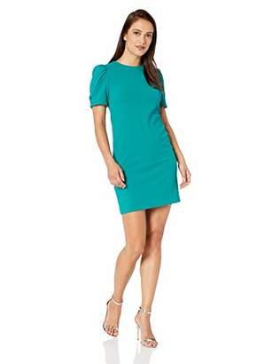 Calvin Klein Women's Petite Short Sleeve Sheath with Crystal Button Dress