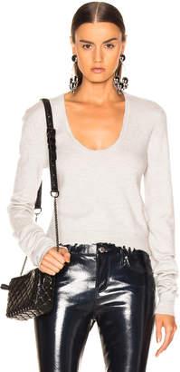 Unravel V Neck Long Sleeve Knit Top in Light Grey   FWRD