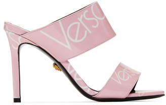 Versace Pink Patent Logo Stamp Sandals