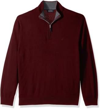 Nautica Men's Long Sleeve Cotton Blend Half Zip Sweater