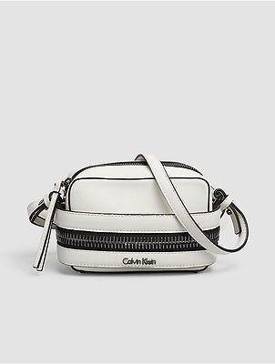 Calvin KleinCalvin Klein Womens Faux Leather Small Crossbody Bag Powder White