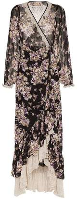 By Ti Mo By Timo floral print contrast hem wrap dress