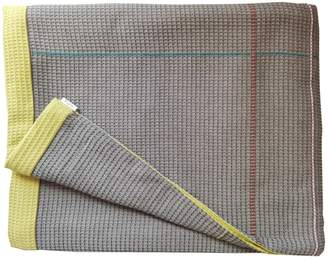 Waffle Design Pearson Taupe Olive Hand Embroidered Reverse Throw