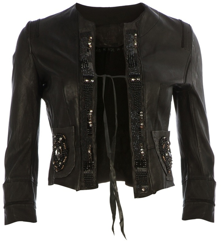 Le Cuir Perdu cropped embellished leather jacket