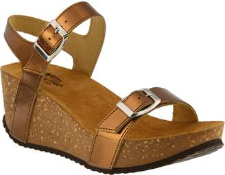 Spring Step Metallic Leather Wedge Sandals - Shiri