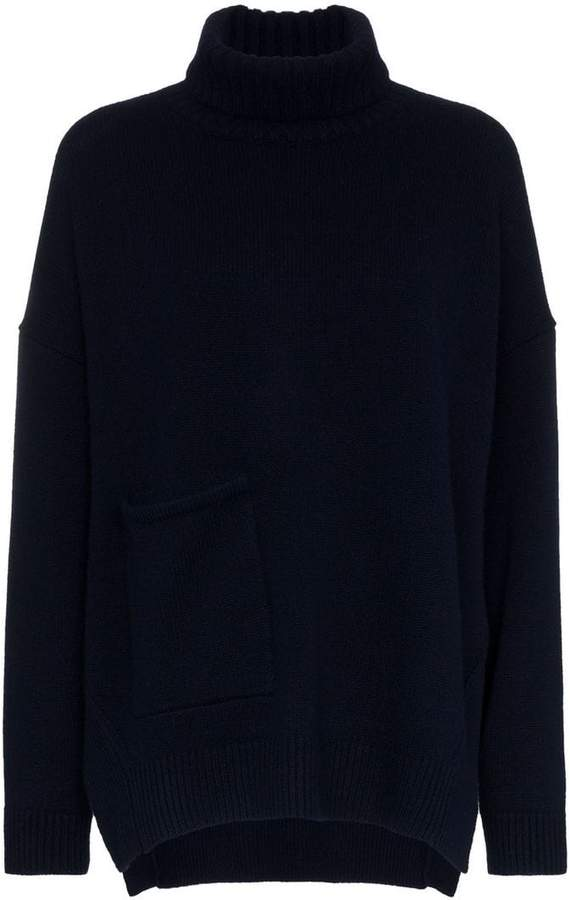 turtle neck patch pocket cashmere jumper