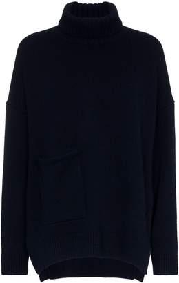 Tibi turtle neck patch pocket cashmere jumper