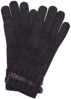 Portolano Heather Charcoal & Teak Leather-Trim Wool-Blend Gloves