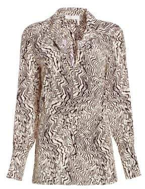 Chloé Deep V-Neck Wave Print Silk Blouse