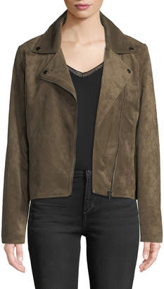 Bagatelle Faux-Suede Motorcycle Jacket, Olive