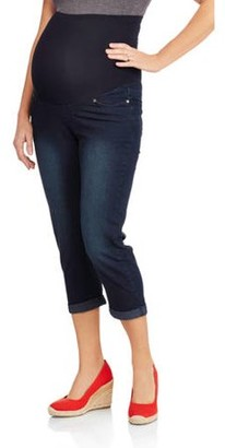 1be0d0dd532cf Oh! Mamma Maternity Roll Cuff Overbelly Denim Capris - Available in Plus  Sizes