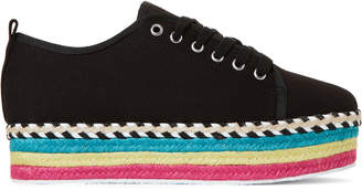 Betsey Johnson Black Arbor Striped Platform Sneakers
